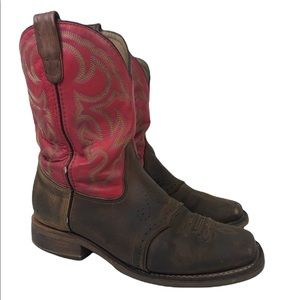 Double H Square Toe Ice Roper Red Brown Work Boots